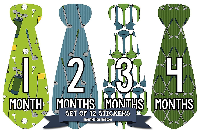 Months In Motion Monthly Baby Tie Stickers - Boy Month Milestone Necktie Sticker - Onesie Month Sticker - Infant Photo Prop for First Year - Shower Gift - Newborn Keepsakes - Golf