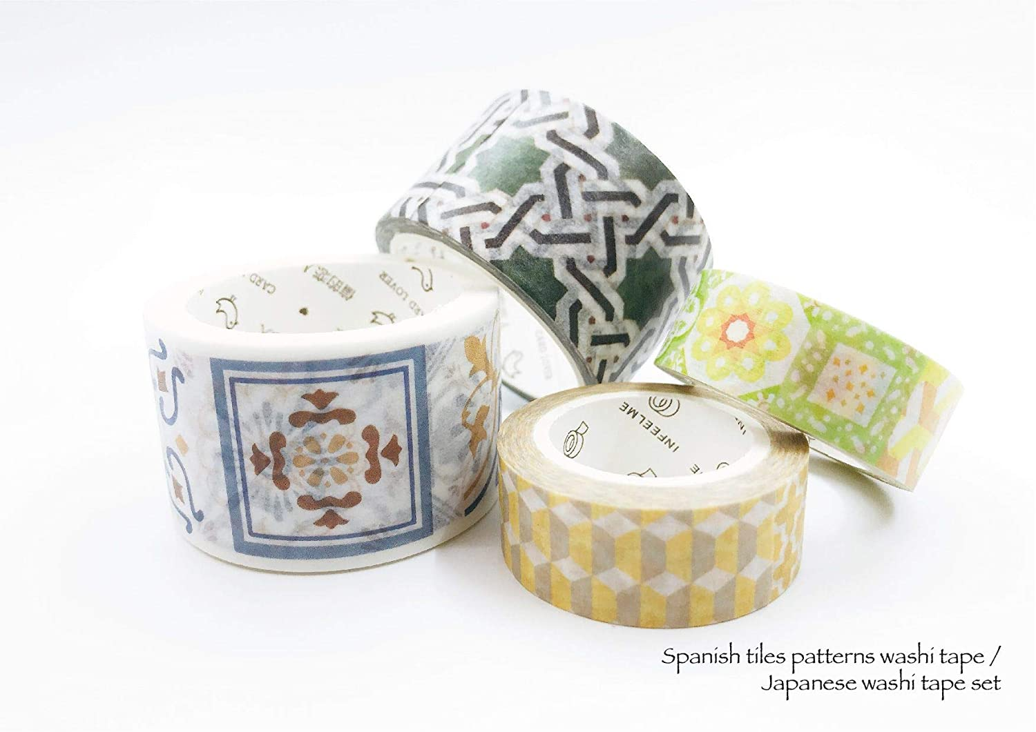 Spanish Tiles Print washi Tape Set of 4 Rolls. for scrapbooks, DIY Crafts, Gift Wrapping, Wall Paper Borders, Custom Decorating. Leaves no Residue When Removed!