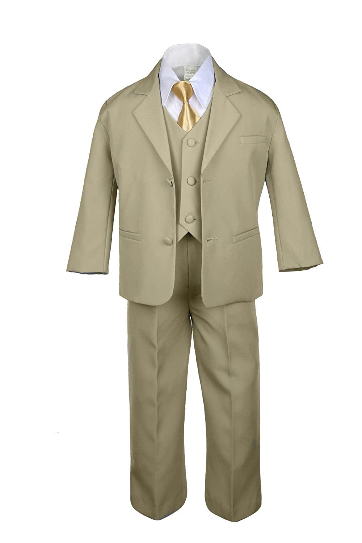 6pc Boys Khaki Tuxedo Suits with Satin Mustard Necktie from Baby to Teen (10)