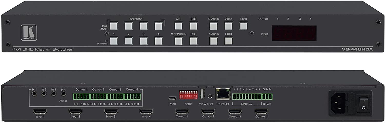 Kramer VS-44UHDA 4x4 4K60 4:2:0 HDMI Matrix Switcher with Audio Embedding/De–embedding