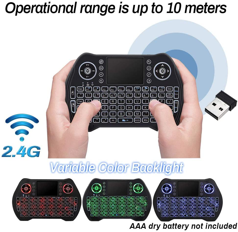2.4G Wireless Backlit Mini Keyboard Handheld Keyboard with Touchpad Mouse for Android TV Box Game Pad Smart Phone Tablet Mac Linux Windows OS,Upgrade Mini Keyboard