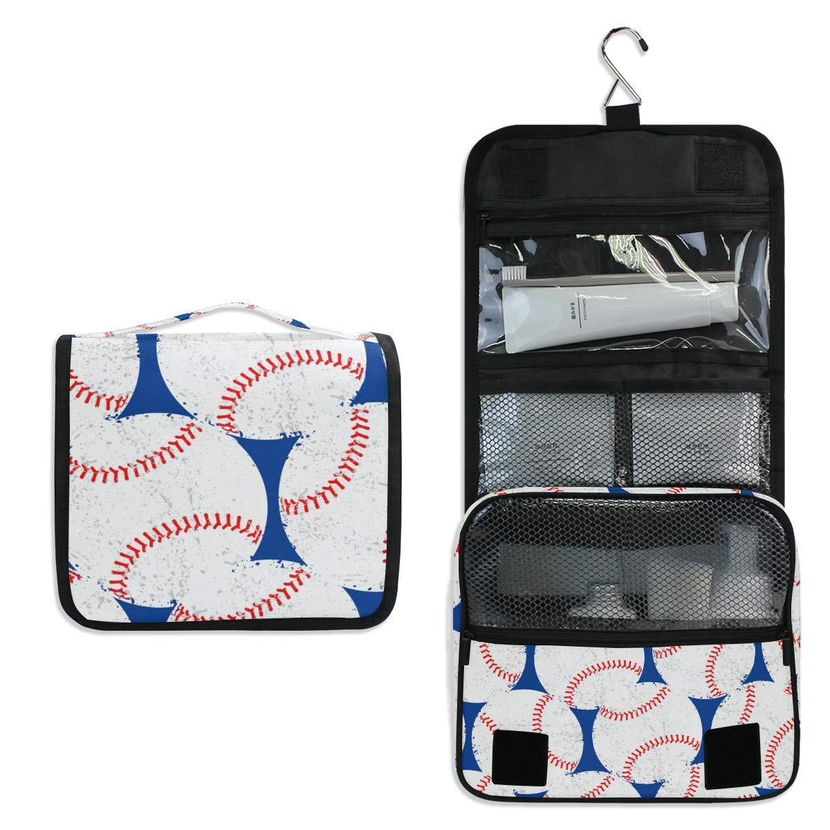 Toiletry Bag Travel Bag Hanging Hook - Baseballs Waterproof Cosmetic Bag Portable Makeup Pouch for Girls Men Women