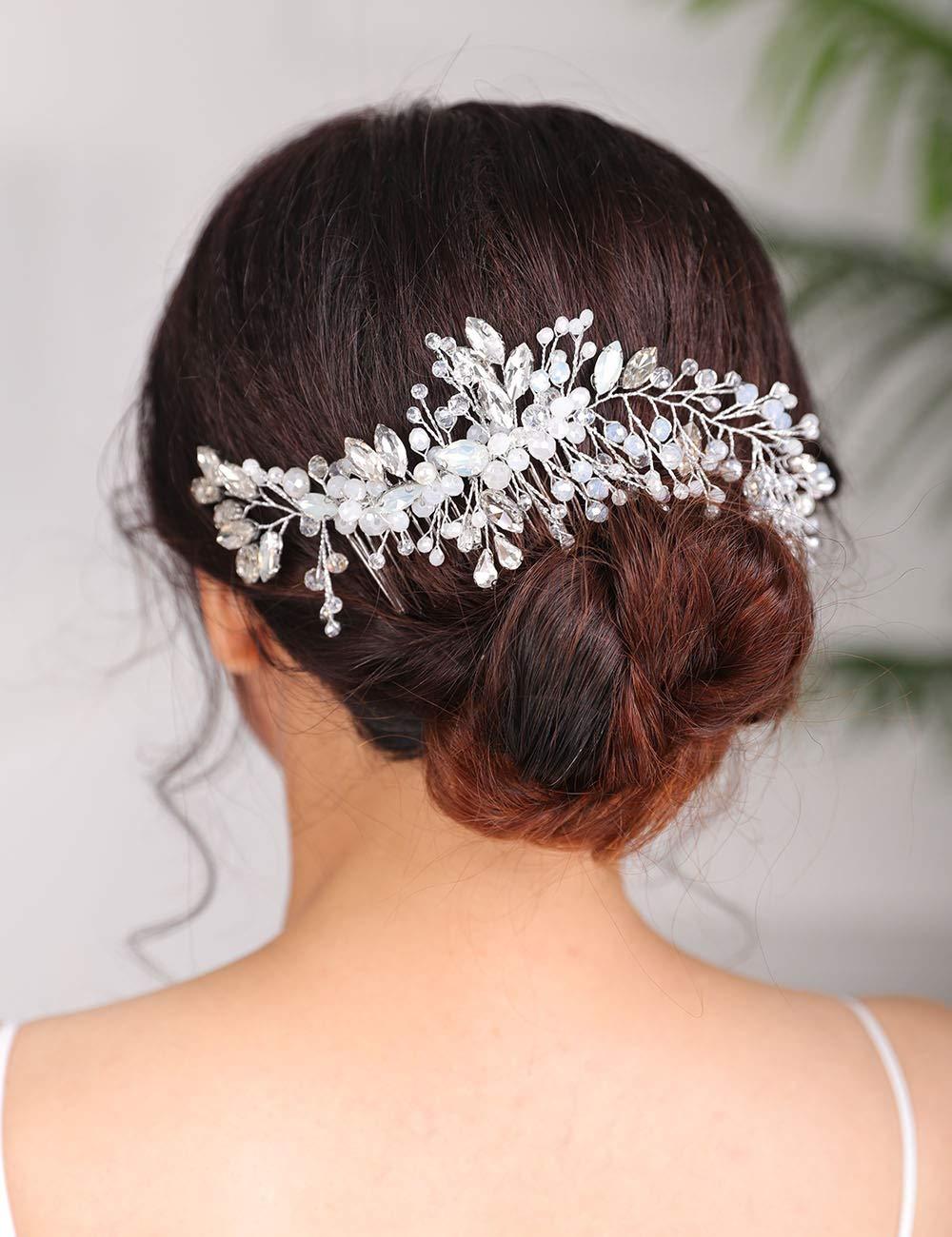 Denifery Headpiece Hair Comb Wedding Bridal Hair Vine Opal Hair Comb Bridal Something Blue for Bride Hair Accessories Season Wedding Hair Piece Hair Jewelry Bridal Hair Accessories (Silver)