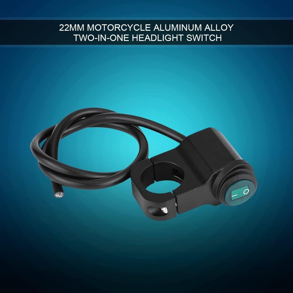 Motorcycle Handlebar Switch, 12V Universal 22mm Waterproof Motorcycle Handlebar ON/OFF Switch Motorbike Headlight Fog Spot light LED On Off Switch