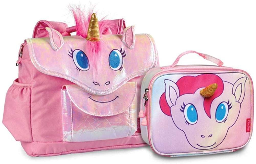 Bixbee Girls Small Unicorn Backpack and Lunchbox Set Kids, Pink, One Size