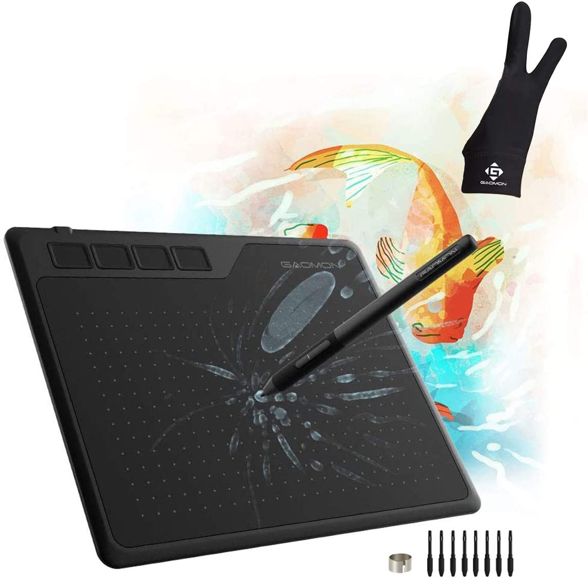 GAOMON S620 Pen Tablet & 2-Finger Gloves- Graphics Drawing Tablet for Digital Drawing/ 2D 3D Animation/Annotating Signing/ Online Tutoring