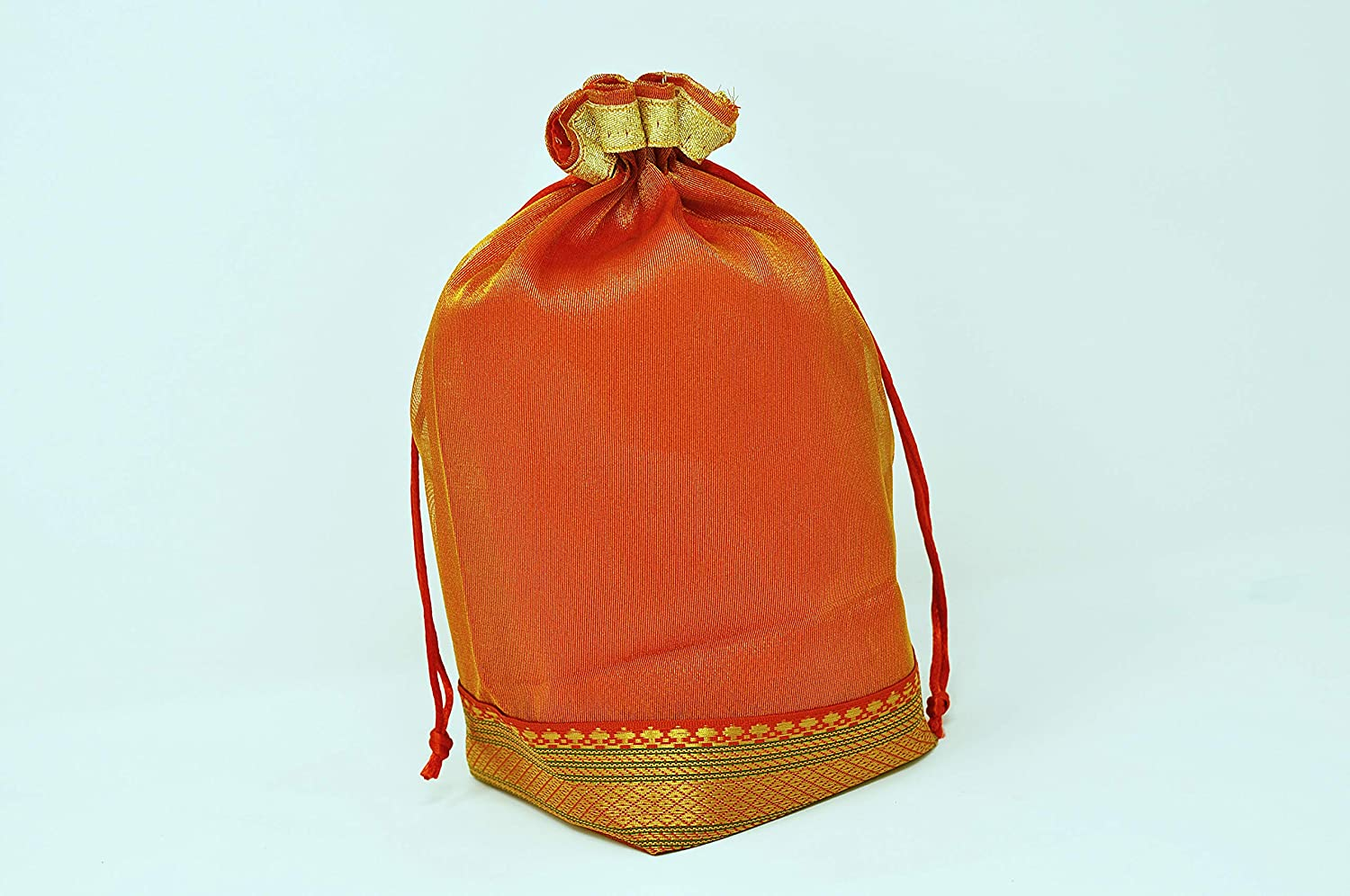 Desi Favors Set of 4 Organza Potli Bags/Drawstring Pouches with Red Lining and Gold Lace - Diwali Return Gifts/Party Favors-Jewelery Bags/Travel Pouches