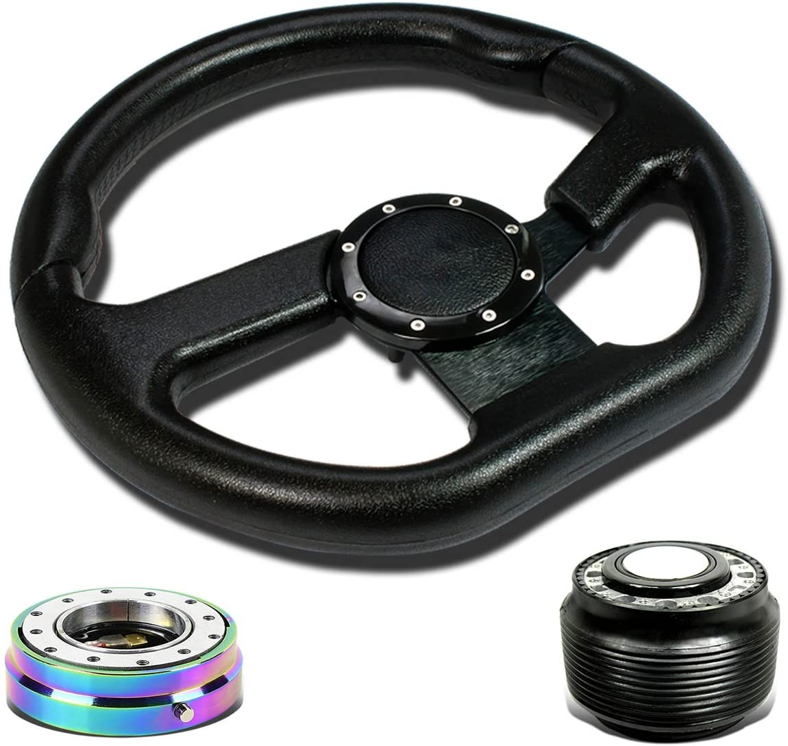 Replacement for Miata/Protege/RX7/RX8 320mm SW-T150 Steering Wheel+Hub Adapter+Neo Chrome 1 inch Quick Release