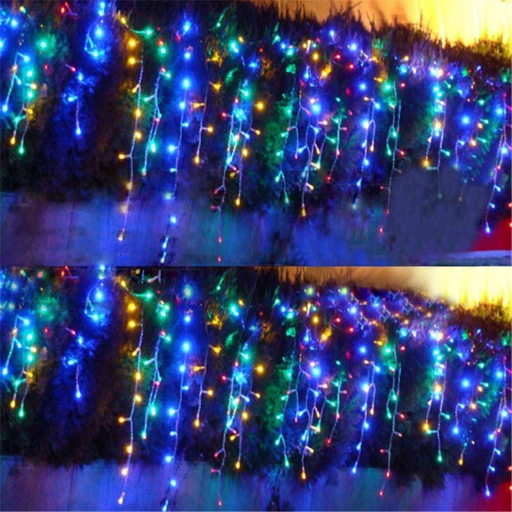 Surprise Zone 8 Modes 640 LEDs 4M(W) X 5M(H) Curtain Lights String Fairy Light Window Curtain Icicle Lights for Christmas Wedding Party Bar Hotel Decorations Colorful