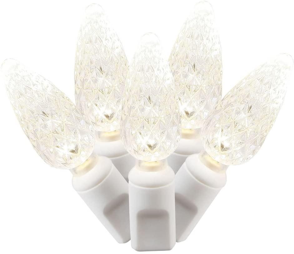 Vickerman X4W8101PBG 100 Light C6 LED Light Set Warm White Lights on White Wire