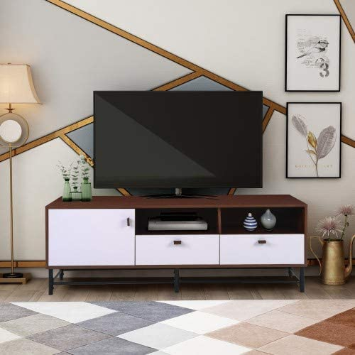 TV Media Stand Cabinet with Metal Legs Leather Buckles for TVs' up to 65 inches in Living Room