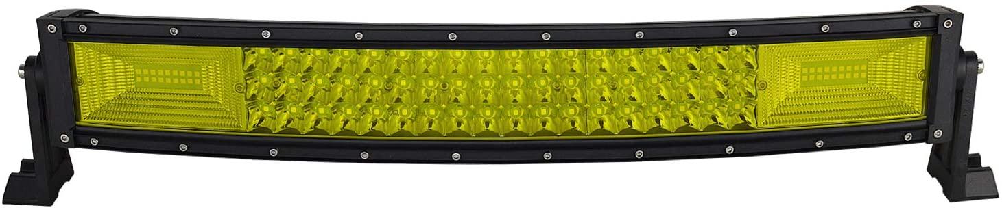 Willpower 22 inch 270W Curved Triple Row Yellow Amber Led Light Bar Flood Spot Driving Lights Off Road Lights for Pickup Truck Jeep ATV UTV Wrangler SUV Dodge Ram 4x4,3000K 12 24V