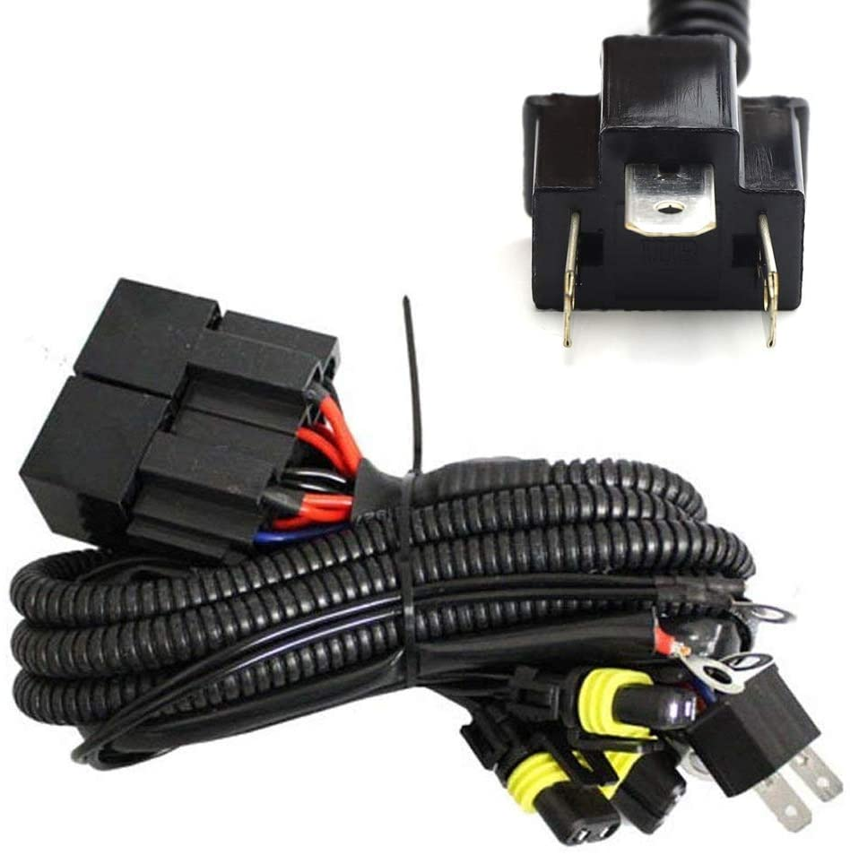 iJDMTOY Xenon Headlight Kit Dual-Relay Wiring Harness Compatible With H4 90036 Hi/Lo Up To 4 Lamps