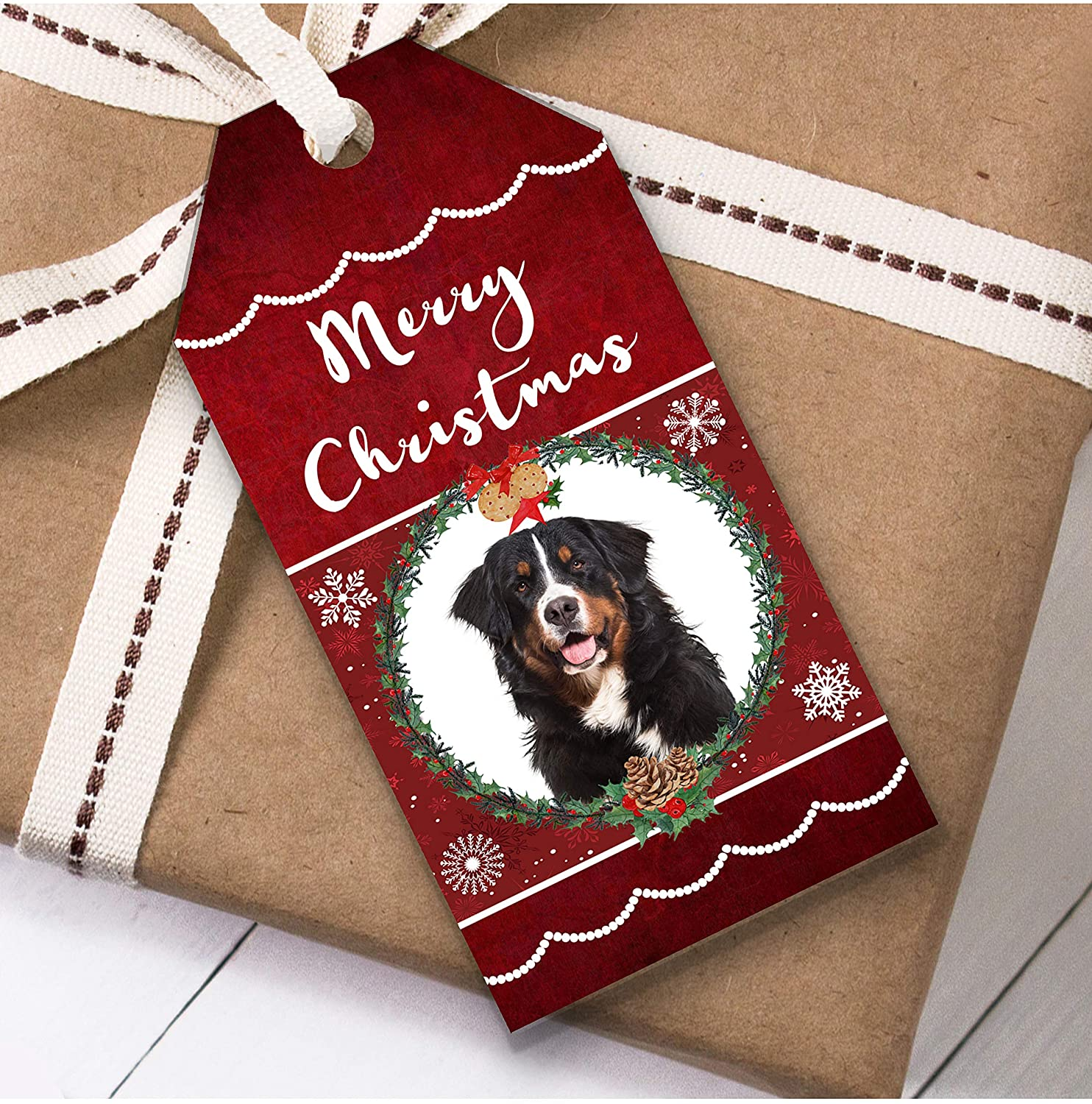 Bernese Mountain Dog Christmas Gift Tags (Present Favor Labels)