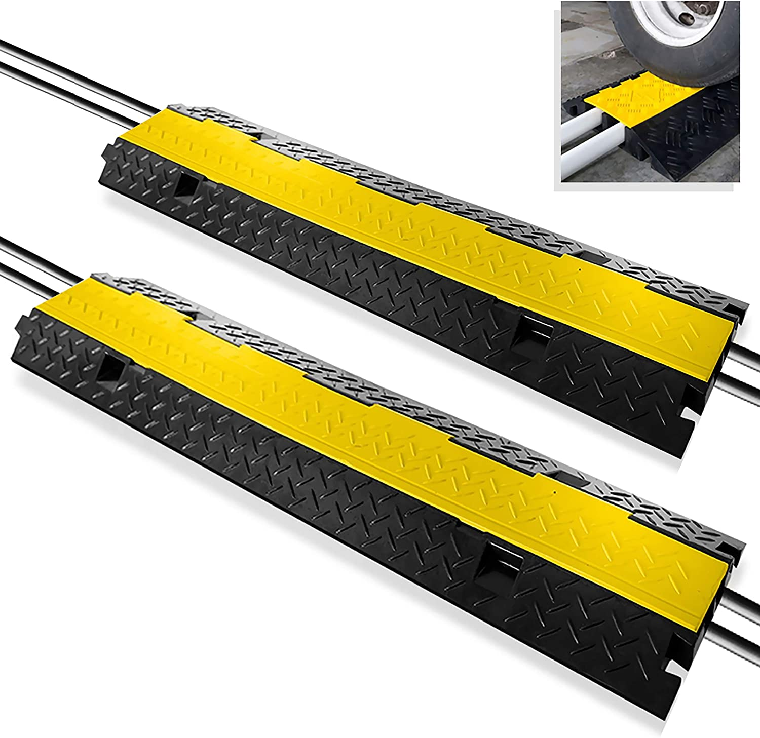 Pyle PCBLCO103X2 Ramp 2 Channel Rubber Floor Cord Concealer-Heavy Duty Cable Protector Wire/Hose/Pipe Hider Driveway Protective Covering Armor, Yellow