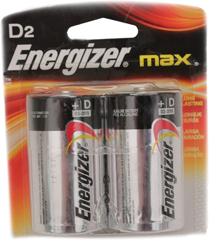 Energizer Alkaline Batteries Size D 1.5 V Blister Pack 2