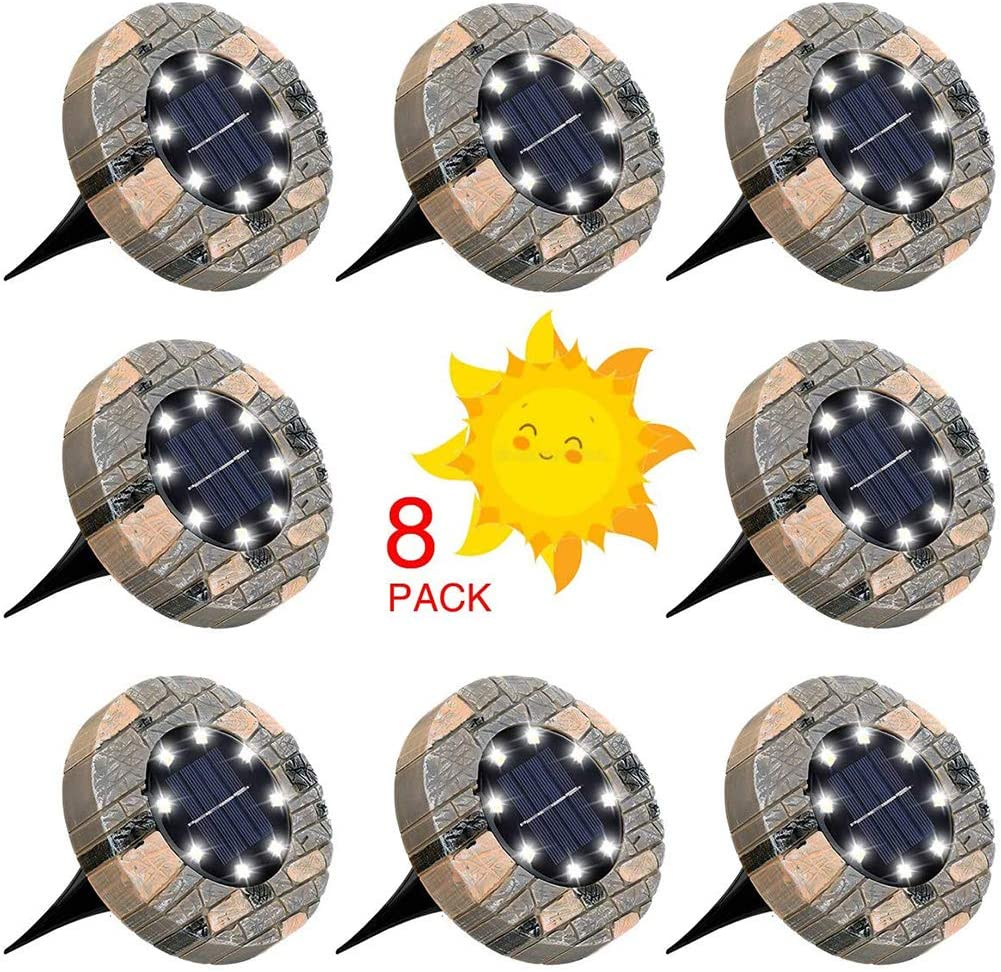 YAOLAN 8 LED Solar Ground Lights IP65 Waterproof Outdoor Disk Lights Solar Powered Durable and Easy to Install for Landscape Walkway Lawn Steps Decks Pathway