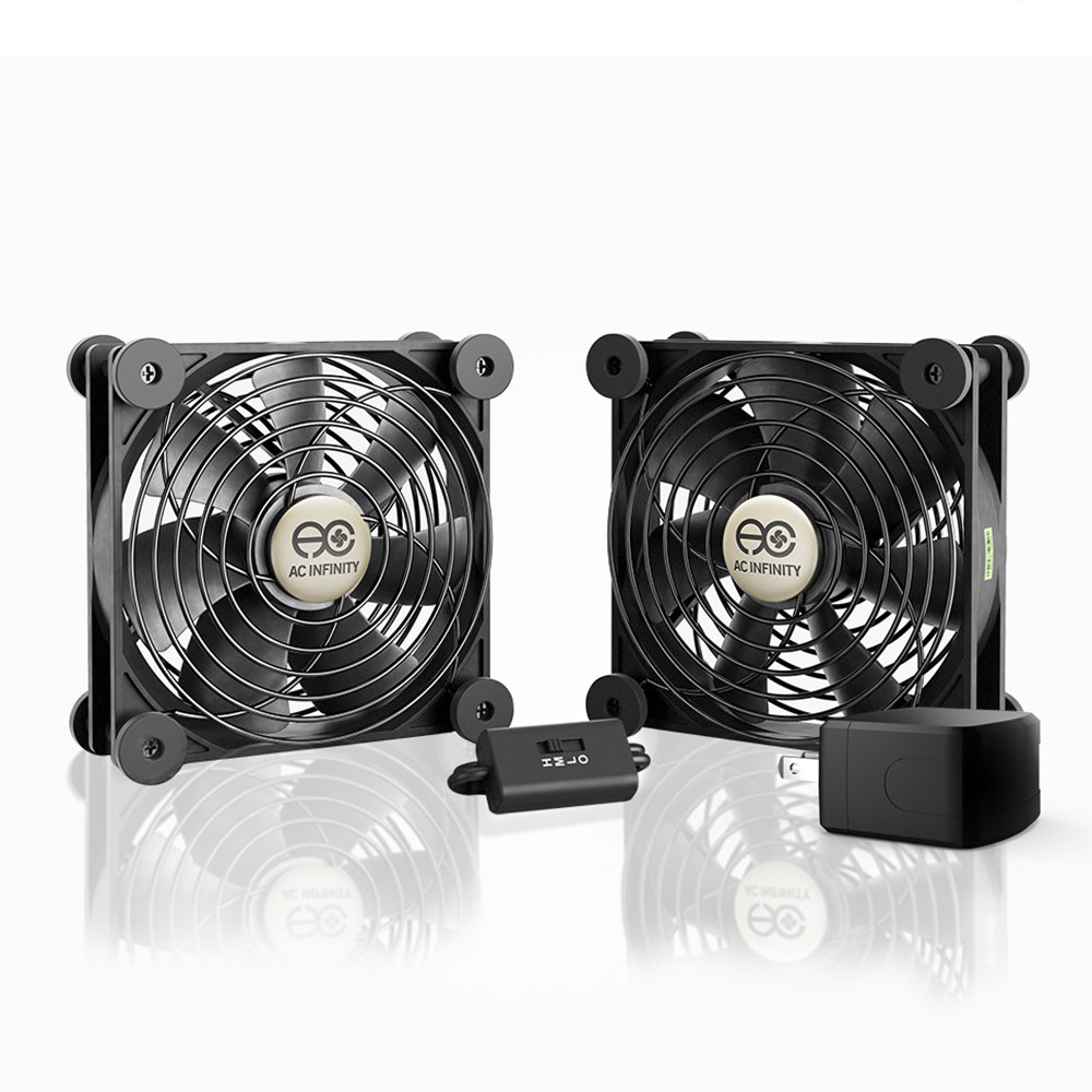AC Infinity MULTIFAN S7-P, Quiet Dual 120mm AC-Powered Fan with Speed Control, UL-Certified for Receiver DVR Playstation Xbox Component Cooling