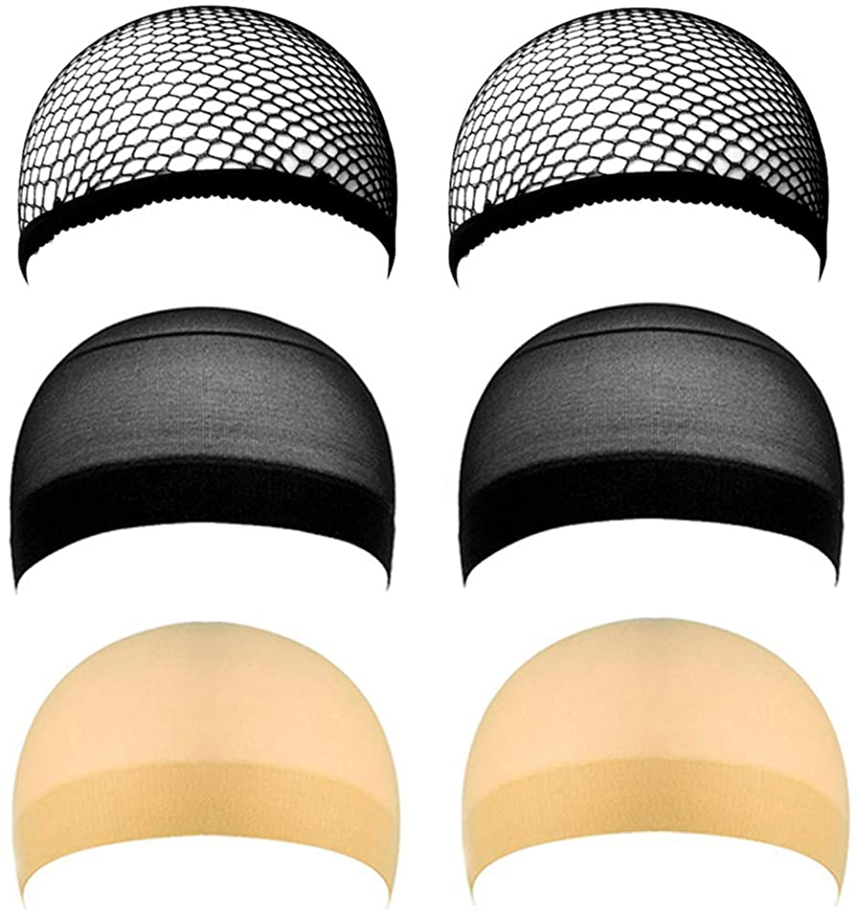 6 Pack Stocking Wig Caps, Skin Tone Color Stretchy Nylon Close End Wig Caps, Each Paper Board Contains Wig Caps for Women and Men