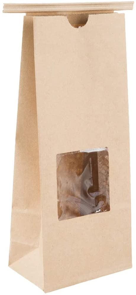 Kraft Tin Tie Poly-Lined Bags Coffee Bags Reclosable Tin Tie Bags with Window - 1Lb - 50 Pack