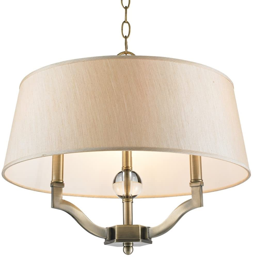 Golden Lighting 3500-SF AB-PMT Semi-Flush/Ceiling with Silken Parchment Shades, Aged Brass Finish