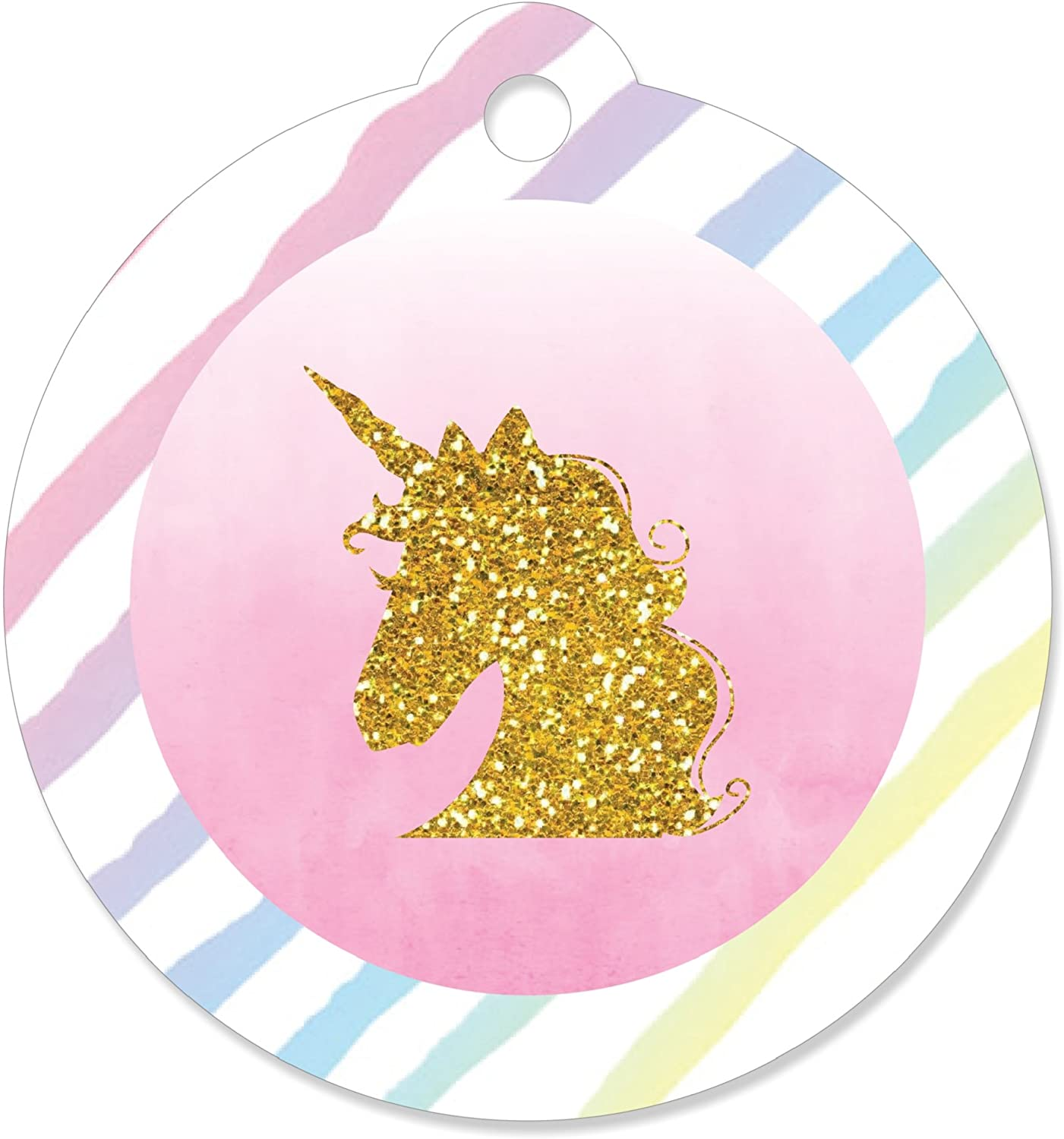 Rainbow Unicorn - Magical Unicorn Baby Shower or Birthday Party Favor Gift Tags (Set of 20)