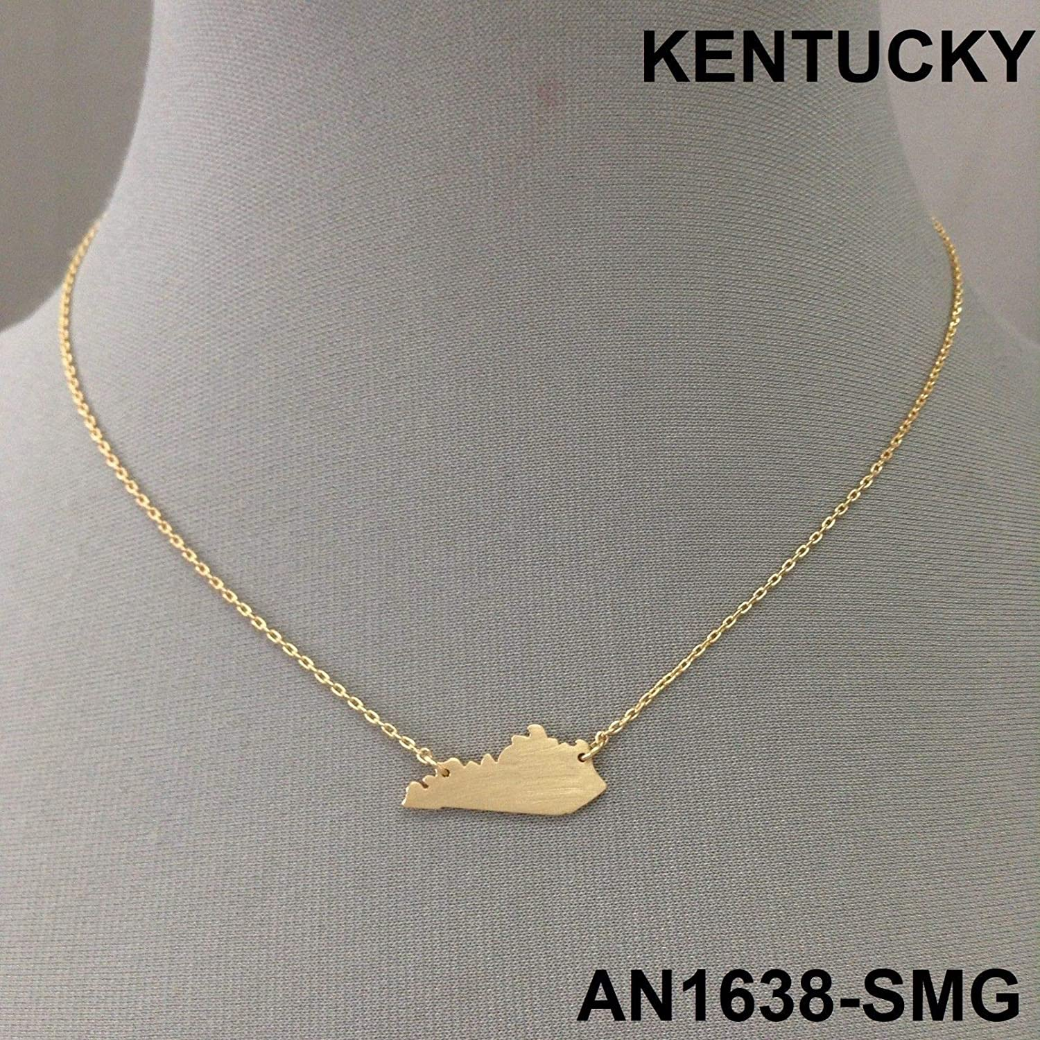 Simple Unique Gold Finish Kentucky State Shape Charm Design Dainty Necklace LL-5687
