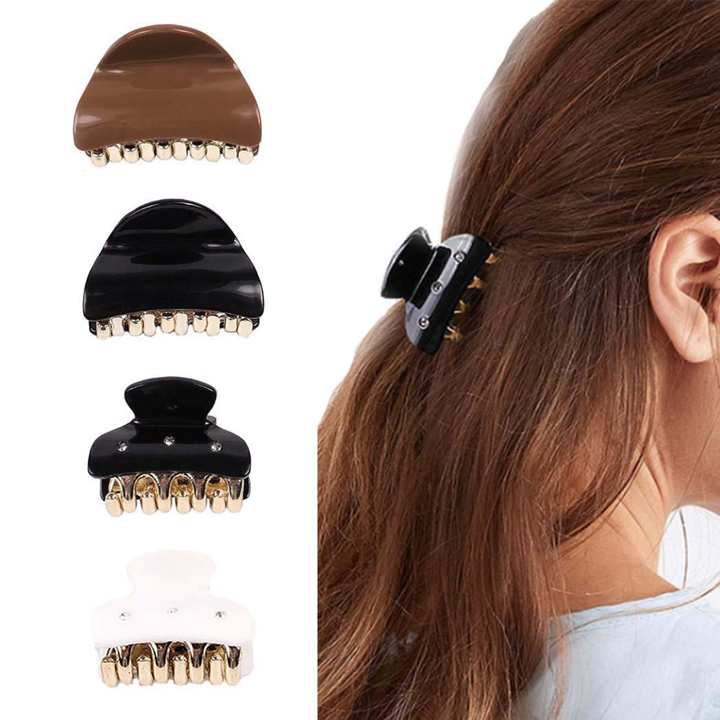 Bartosi Hair Claw Clips Black Hair Catcher White Hair Barrette Jaw Clamp Head Piece for Women Pack of 4