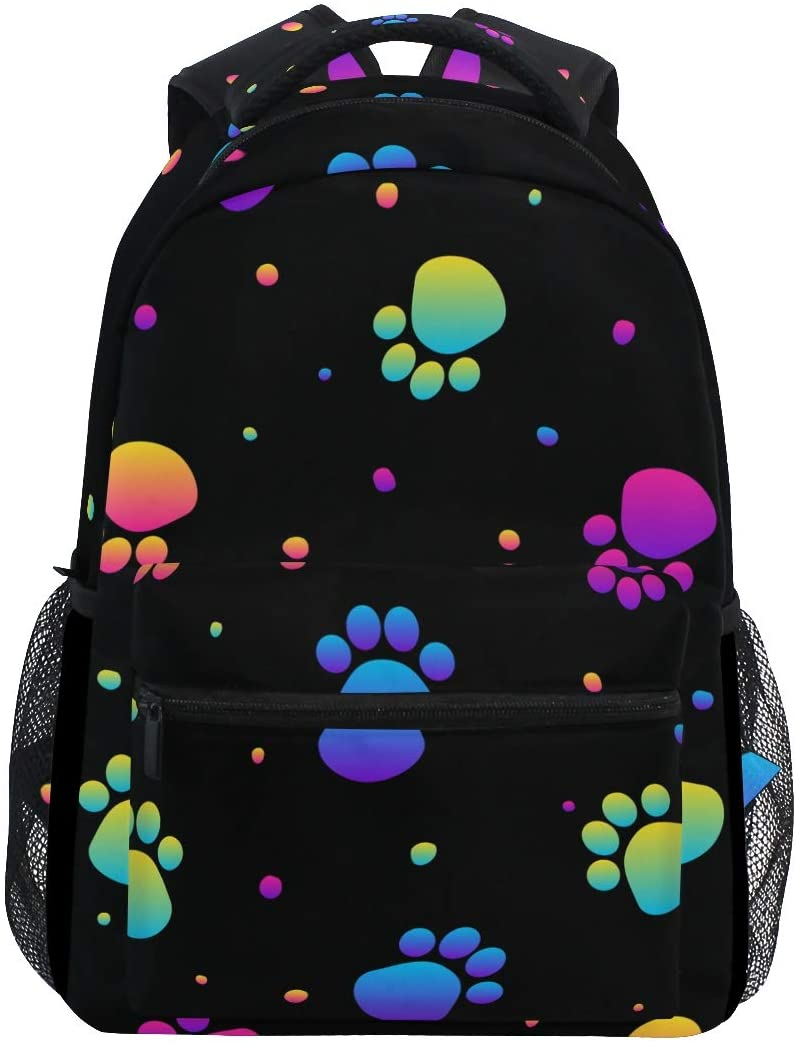 Cute Colorful Rainbow Dog Paw Girls Backpacks for Elementary School Bookbag 3rd 4th 5th Grade