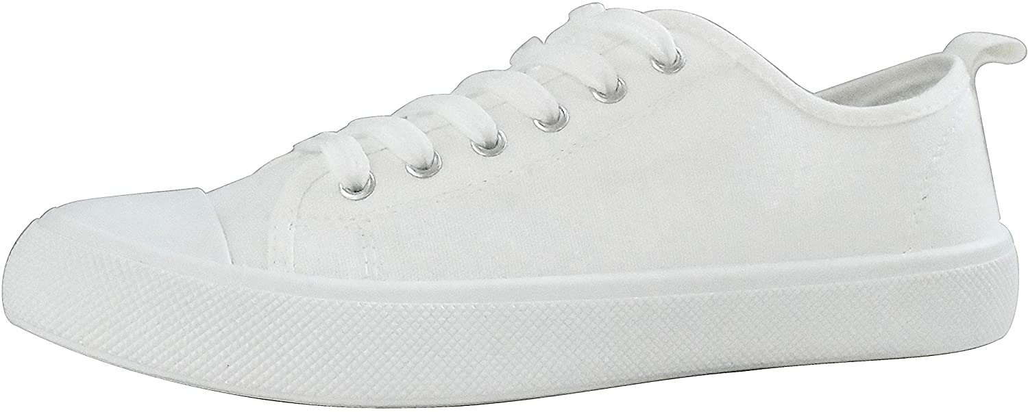LUCKY-STEP Women Canvas Sneakers Casual Shoes Low Top Lace Up Flats Walking Shoes