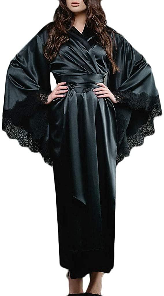 iTLOTL Women Sexy Lace Satin Kimono Long Robe Bathrobe Lingerie Sleepwear Belt Pajamas