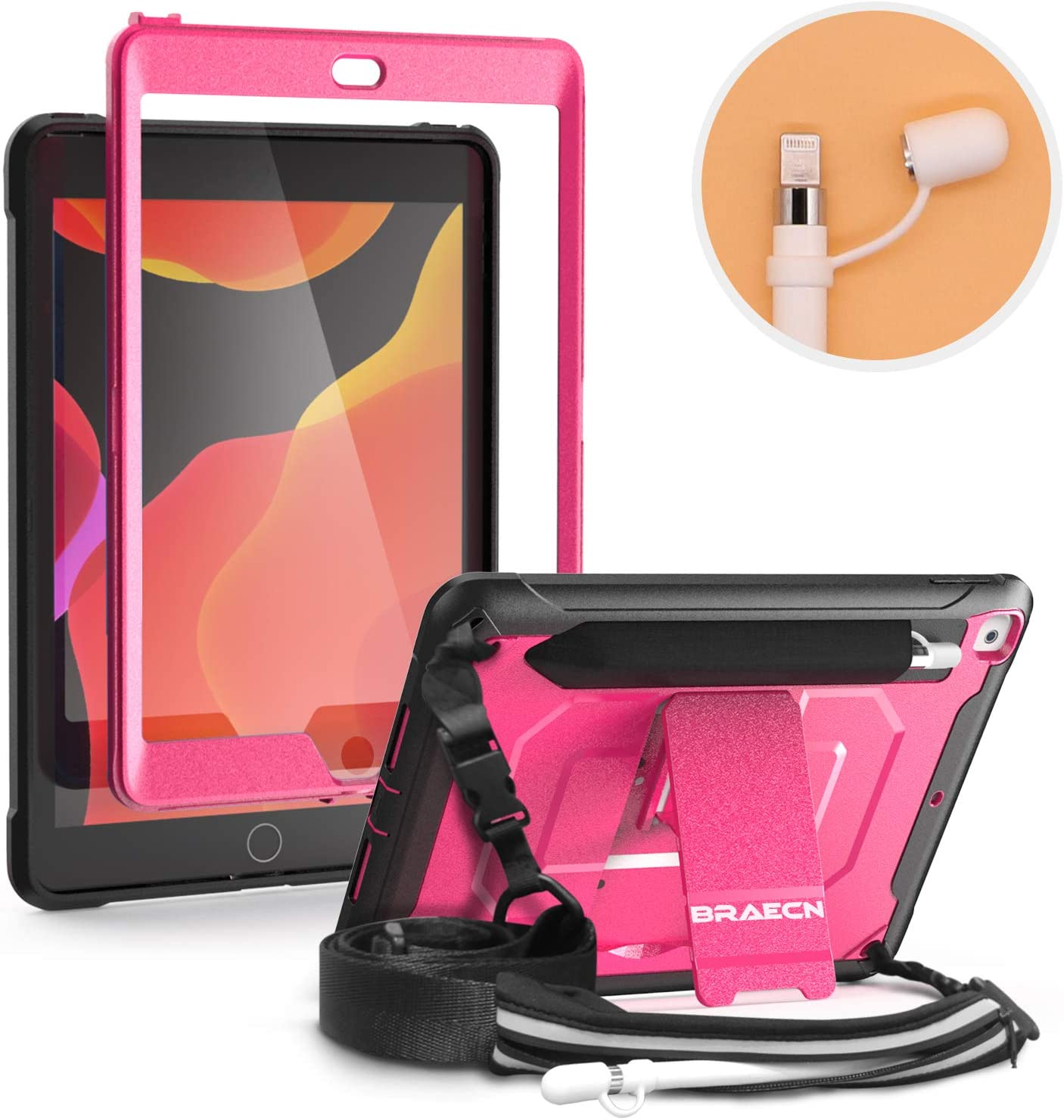 BRAECN iPad 10.2 2019 Case,with Shoulder Strap,Kickstand,Built-in Screen Protector,Pencil Holder & Storage Pencil Pouch,Pencil Cap Holder,Full-Body Rugged Cover for 7th generation iPad 10.2 case -Pink