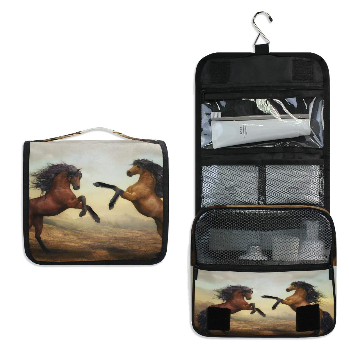 YVONAU Hanging Toiletry Bag War Horse Pattern Portable Travel Cosmetic Makeup Bag Bathroom Shower Shaving Kit Organizer Bag for Men Women