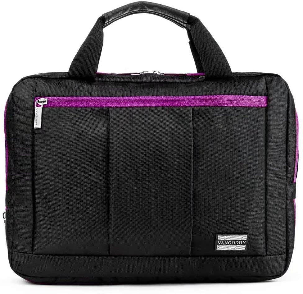 El Prado Backpack Messenger Bag for Toshiba Satellite Radius 11, Encore, Excite, Tablets up to 11.5 inches (Purple)