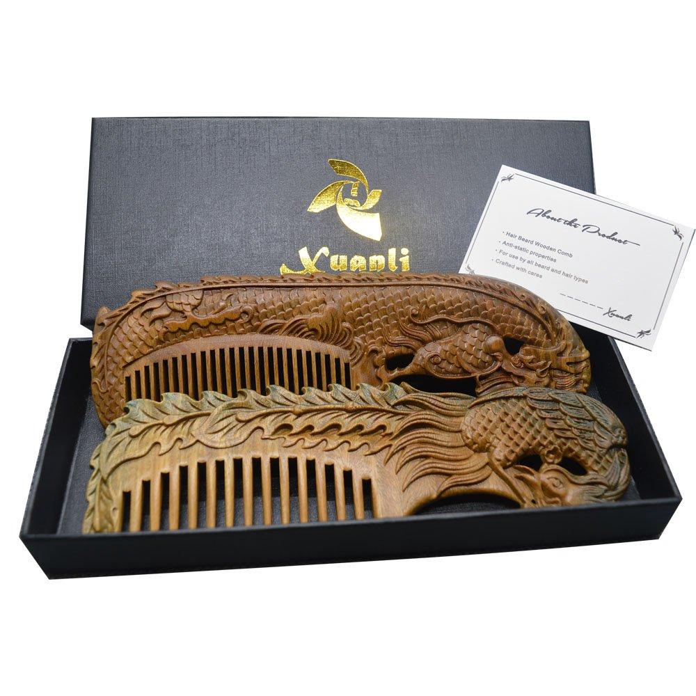 Xuanli 2 pcs Natural SandalWood Comb Hair Care Anti Static Wooden Hair Massage Natural Brush Beard Comb (M014)