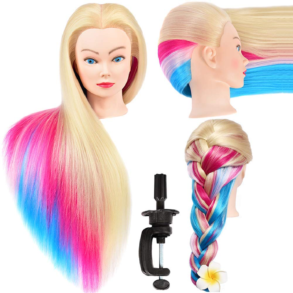 Mannequin Head with Long Synthetic Fiber Colorful Hair Styling Training Head 26''-28'' Manikin Cosmetology Doll Head Hairdressing Training Model for Cutting Braiding Practice and Free Clamp Holder