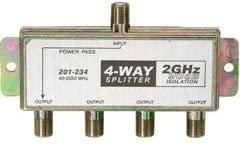 TecNec 4-Way 2.4Ghz 90dB Satellite Splitter DC Power Passing to One Port