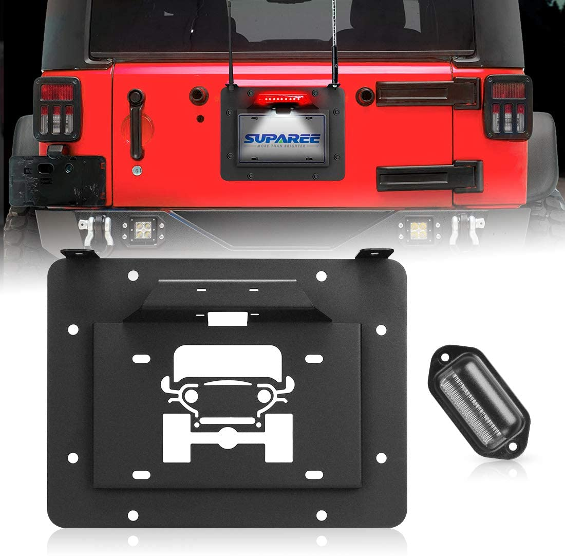 SUPAREE Spare Tire Delete License Plate Relocation Kit w/Plate Illuminate Light for 2007-2018 Jeep Wrangler JK & Unlimited