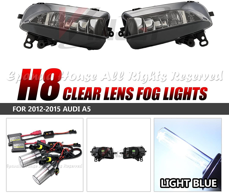 EpandaHouse Fog Lights Assemblies Made for 11-14 Chrysler 200 Clear Lens Front s+8000K Sky Blue AC 35W HID Kit