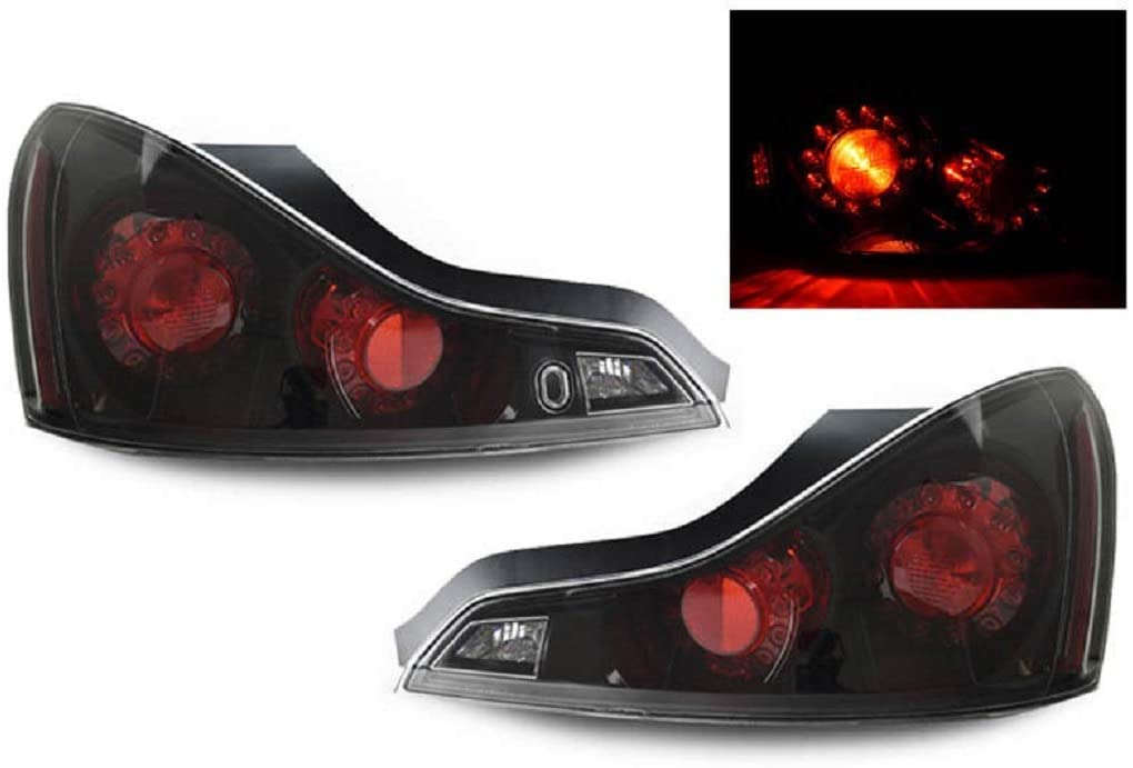 DEPO JDM Black LED Rear Tail Light Compatible and Fits For 2008-2013 Infiniti G37 2D Coupe and 2014-2015 Q60 - Compatible and Fits for Infiniti