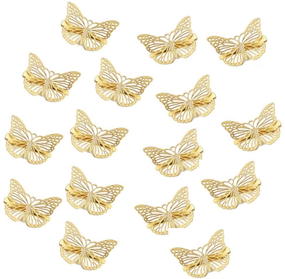 16 Pcs Golden Hollow Metal Hair Clip Hair Accessories Hair Accessories for Women,Bride Headwear Hair Clips Shiny Gold Butterfly Hair Clip Butterfly Headband