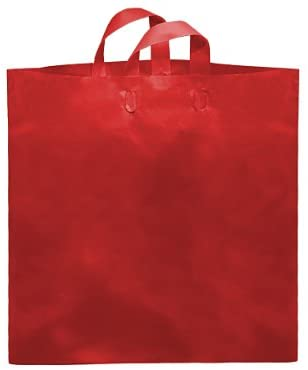 COLOSSAL Red Studio Shopping BagsBULK 80% Recycled Plastic 22x18x8