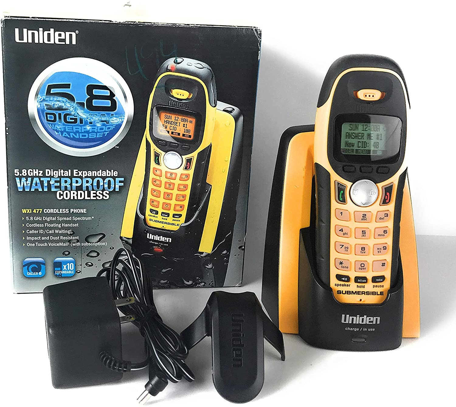 Uniden 5.8GHz Expandable Water-Submersible Handset Phone with Call Waiting/Caller ID