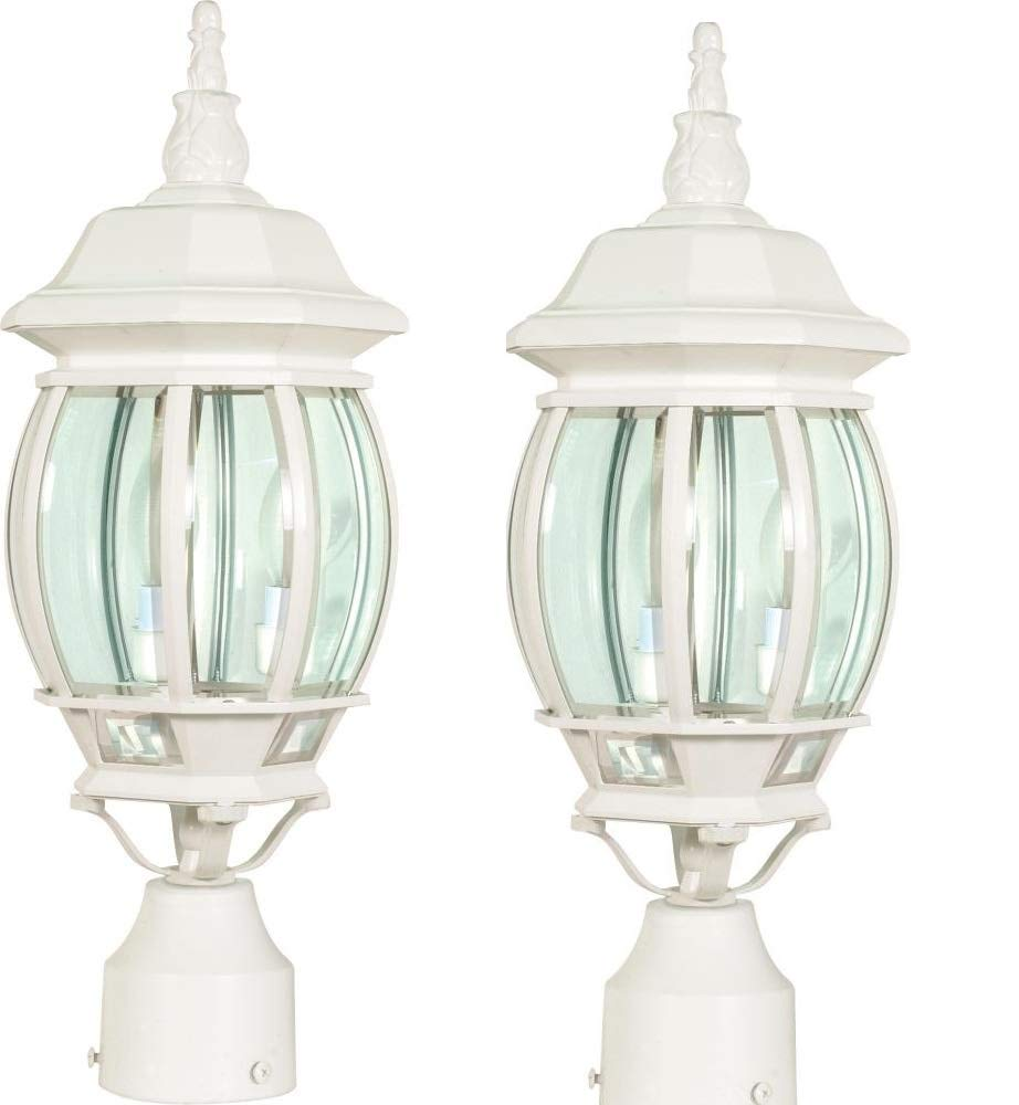 Nuvo 60/897 Post Lantern with Clear Beveled Panels, White (White - 2 Pack)