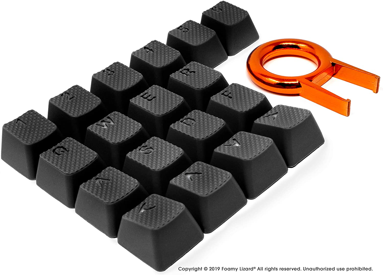 Pro Rubber Keycap Set by Foamy Lizard - Backlit Set of Cherry MX Compatible OEM Profile Double Shot Shine-Through Keys with Key Puller (Black - Set of 18)