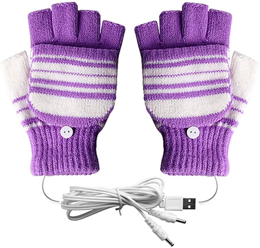 USB Heated Gloves for Men and Women Mitten, AIKIN USB 2.0 Powered Stripes Heating Pattern Knitting Wool Heated Gloves Hands Warmer Laptop/Computer Gloves Fingerless Washable Design (Purple)
