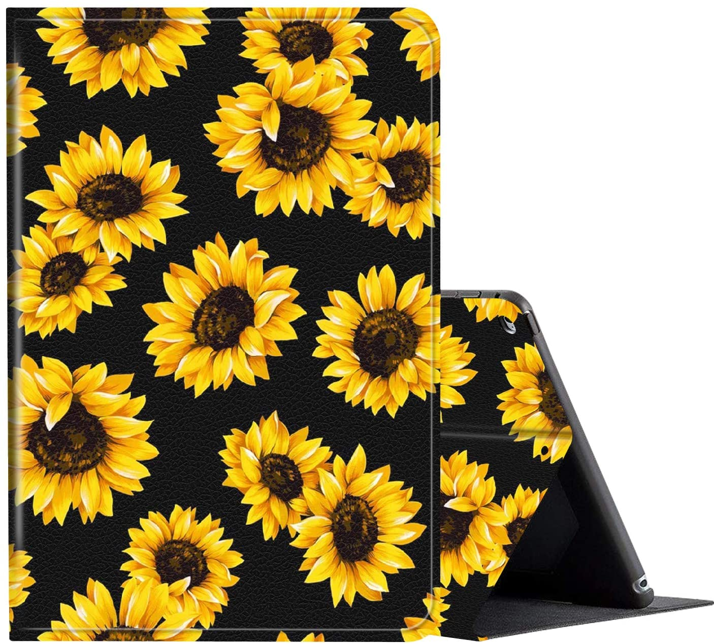 IPad 10.2 Inch 2019 Case, AMOOK PU Leather Adjustable Stand Cover Protection with Auto Wake/Sleep Smart Cover for Apple iPad 7th Gen-Vintage Sunflower