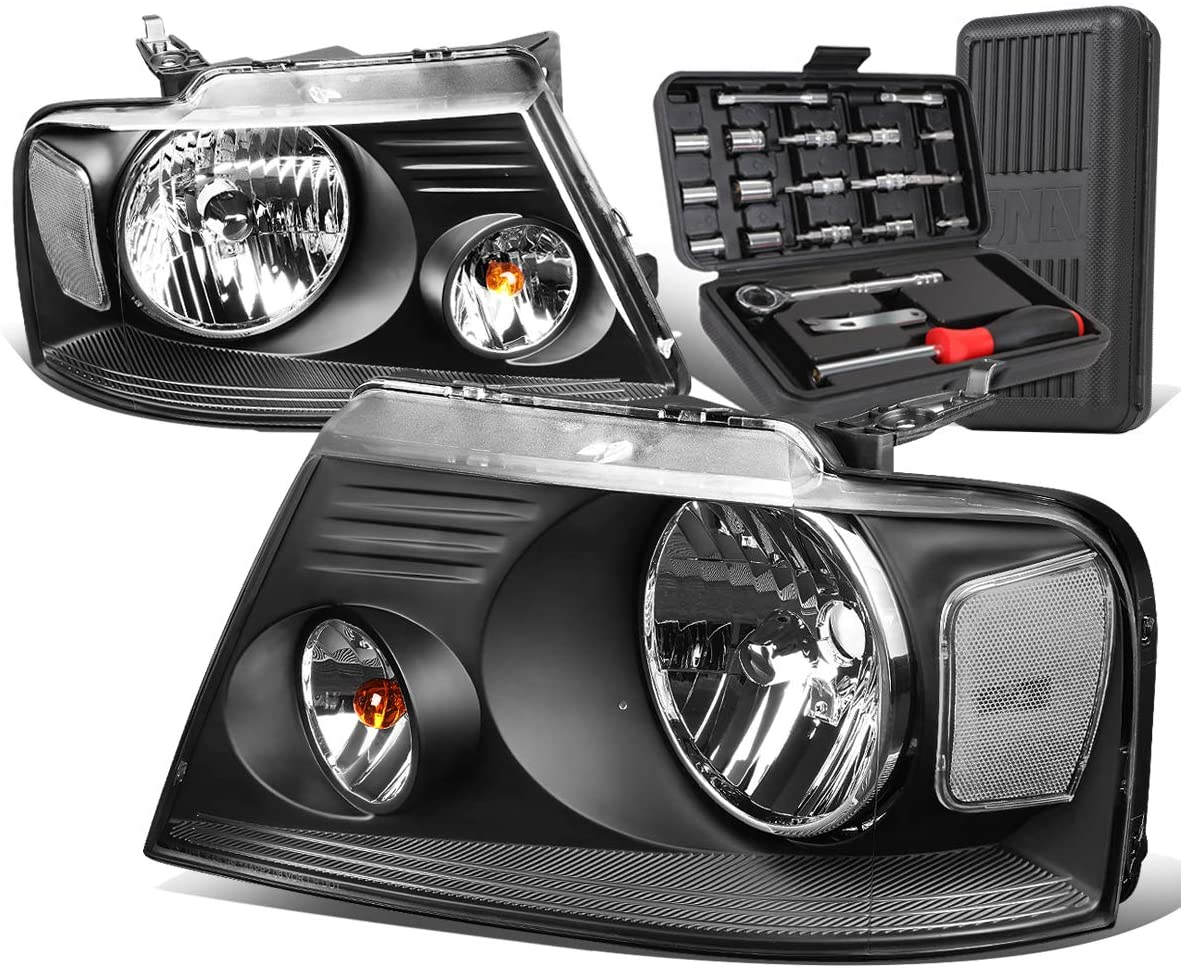 OE Style Black Housing Clear Corner Headlight Lamps+Tool Kit Replacement for Ford F-150 04-08