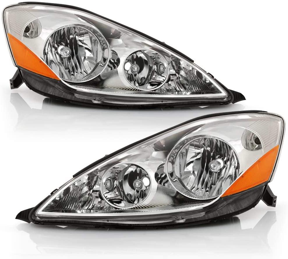 ACANII - For [Halogen Model] 2006-2010 Toyota Sienna Chrome Housing Headlights Headlamps Assembly Pair Driver+ Passenger