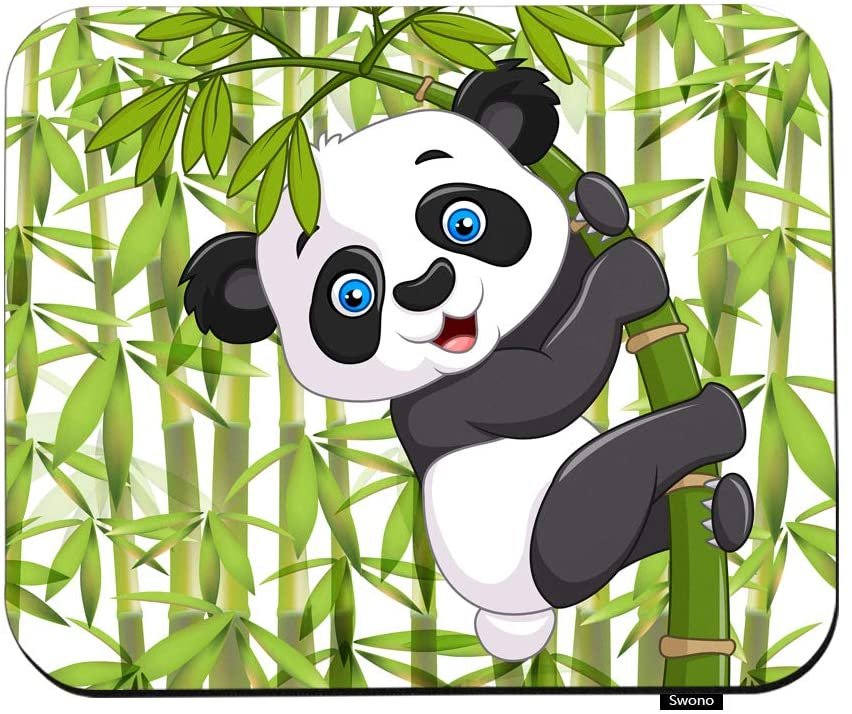 Swono Panda Mouse Pads Cartoon Cute Funny Baby Panda Hanging On The Bamboo Mouse Pad for Laptop Funny Non-Slip Gaming Mouse Pad for Office Home Travel Mouse Mat 7.9X9.5